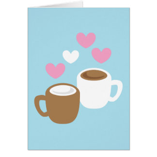 Coffee and hot chocolate cute love hearts card
