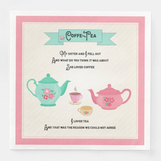 Coffee and Tea Rhyme Pink and Green Paper Napkins