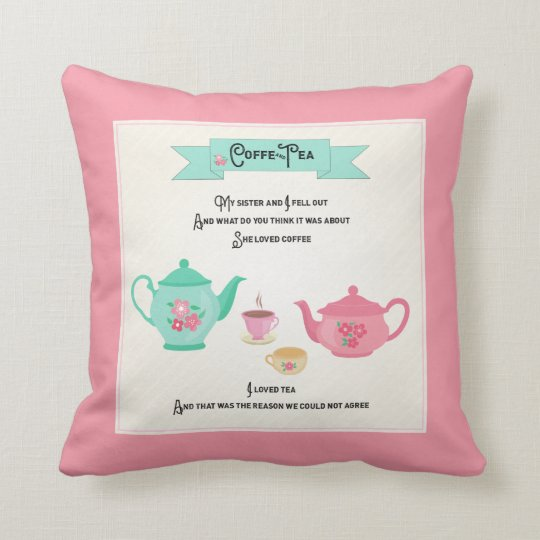 Coffee and Tea Rhyme Pink and Green Throw Pillow
