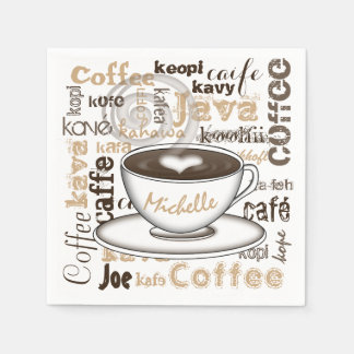Coffee Around the World Name Paper Napkins