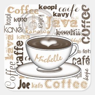 Coffee Around the World Name Square Sticker
