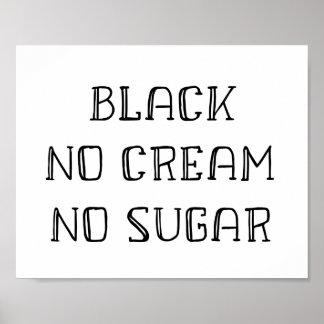 Coffee Art - Black, No Cream, No Sugar Poster