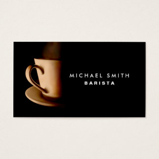 Coffee Barista Professional Elegant Plain Black Business Card