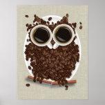Coffee Bean Owl Poster Art