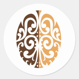 Coffee Bean with Maori Motif Classic Round Sticker