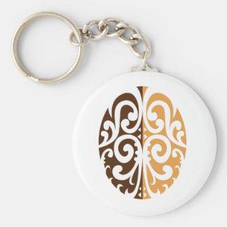 Coffee Bean with Maori Motif Keychain