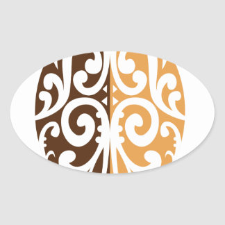 Coffee Bean with Maori Motif Oval Sticker