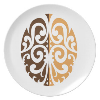 Coffee Bean with Maori Motif Plate
