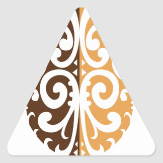 Coffee Bean with Maori Motif Triangle Sticker