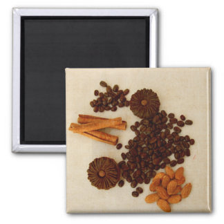 Coffee beans, almonds, cinnamon, cookies square magnet