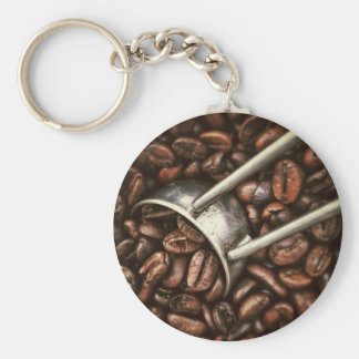 Coffee beans and metal scoop keychain