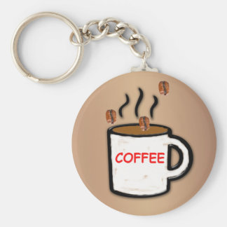 Coffee Beans and Mug Basic Round Button Keychain