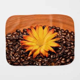 Coffee Beans and Yellow Daisy Burp Cloth