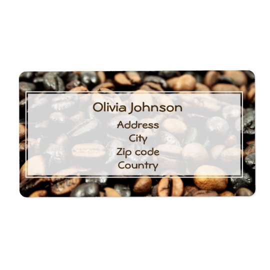 Coffee Beans Background Shipping Label