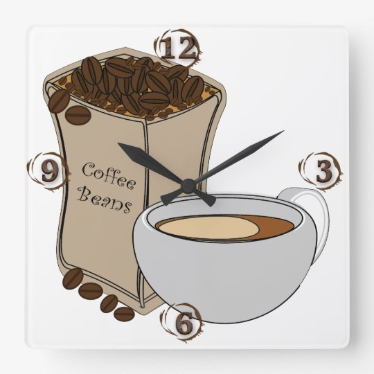 Coffee Beans Coffee Cup Square Wall Clock