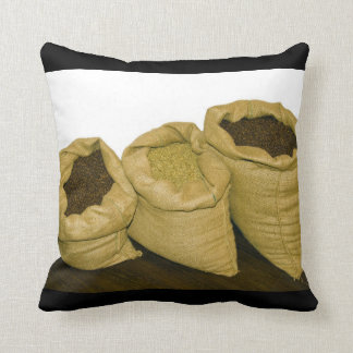coffee beans in burlap sack throw pillow