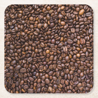 Coffee beans! square paper coaster