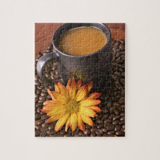 Coffee Beans & Yellow Daisy Jigsaw Puzzle
