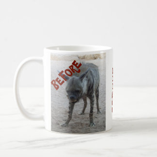 Coffee Before and After Hyena Lion Funny Mug