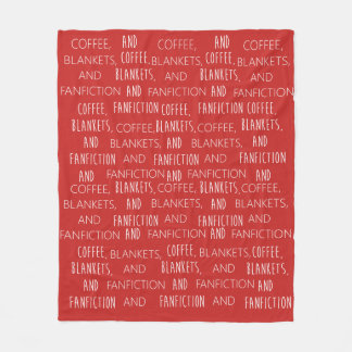 Coffee, Blankets, and Fanfiction - blanket, tiled Fleece Blanket