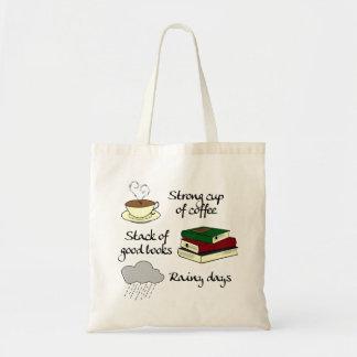 Coffee, Books & Rain Budget Tote Bag