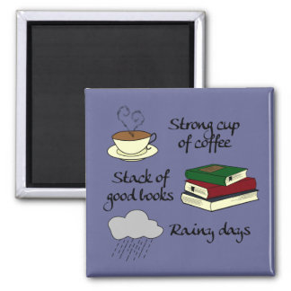 Coffee, Books & Rain - Change Color Magnet