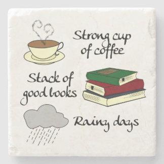Coffee, Books & Rain Stone Coaster