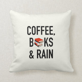 Coffee, Books & Rain Throw Pillow