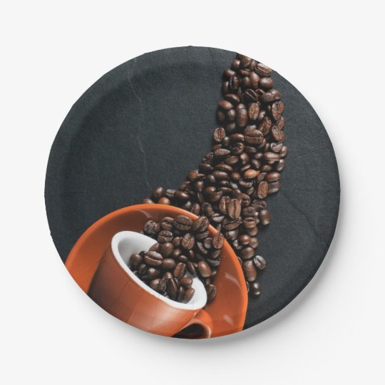 Coffee Break / Beans and Mug Pattern Paper Plate 7 Inch Paper Plate
