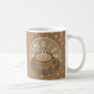 Coffee Break Clock and Beans Coffee Mug