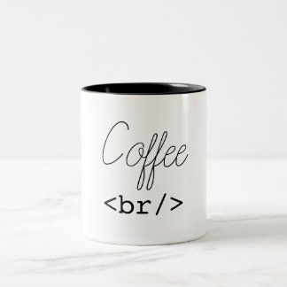 Coffee Break Funny HTML Two-Tone Coffee Mug