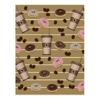 Coffee break pattern postcard