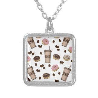 Coffee break pattern silver plated necklace