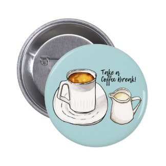 Coffee Break Watercolor and Ink Illustration 2 Inch Round Button