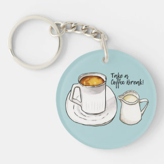 Coffee Break Watercolor and Ink Illustration Keychain