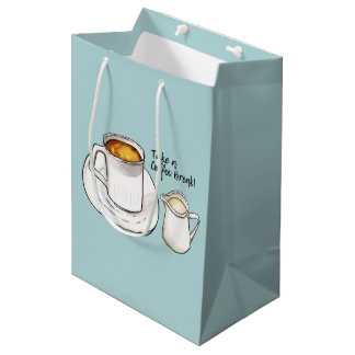 Coffee Break Watercolor and Ink Illustration Medium Gift Bag
