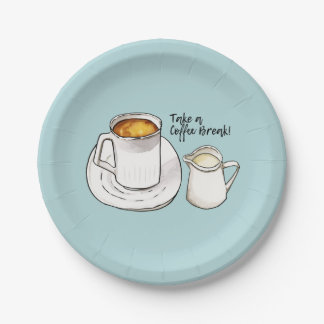 Coffee Break Watercolor and Ink Illustration Paper Plate