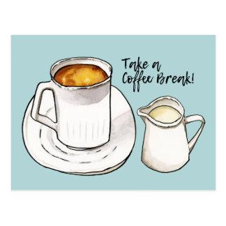 Coffee Break Watercolor and Ink Illustration Postcard