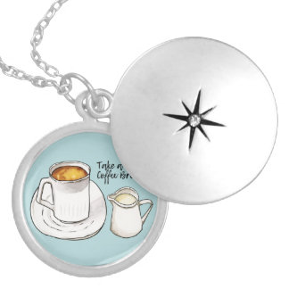 Coffee Break Watercolor and Ink Illustration Silver Plated Necklace