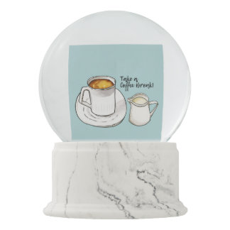 Coffee Break Watercolor and Ink Illustration Snow Globe