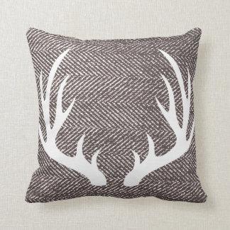 Coffee Brown Herringbone & Deer Antlers Throw Pillow