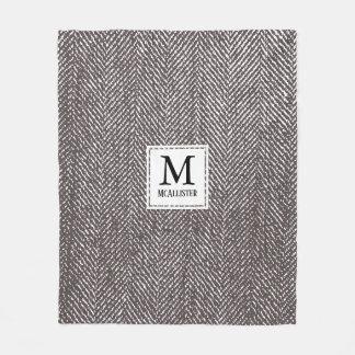 Coffee Brown Herringbone & Monogram Fleece Blanket