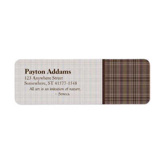 Coffee Brown Plaid Pattern Return Address Label