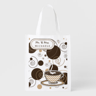 Coffee Brown Polka Dots and Swirls Reusable Grocery Bag