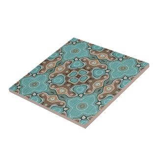 Coffee Brown Turquoise Green Bali Batik Pattern Tile