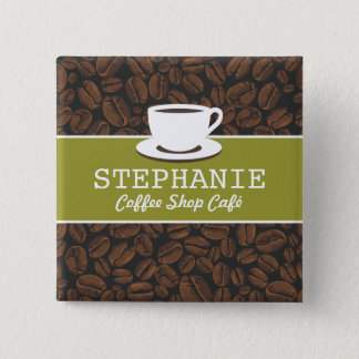Coffee Café Shop Custom Employee Name Badge 2 Inch Square Button