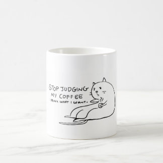 Coffee Cat refusing to be judged Classic White Coffee Mug