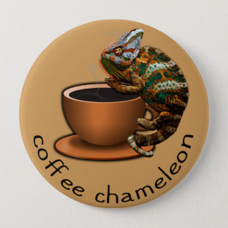 Coffee Chameleon 4 Inch Round Button