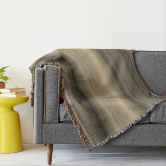 Coffee Chocolate Brown Stripe Line Tabby Pattern Throw Blanket