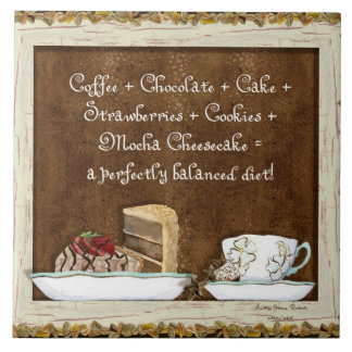 Coffee & Chocolate Java Kitchen Art Dessert Cakes Tile